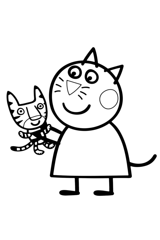 Раскраска Свинка Пеппа Кошка Кэнди - распечатать бесплатно