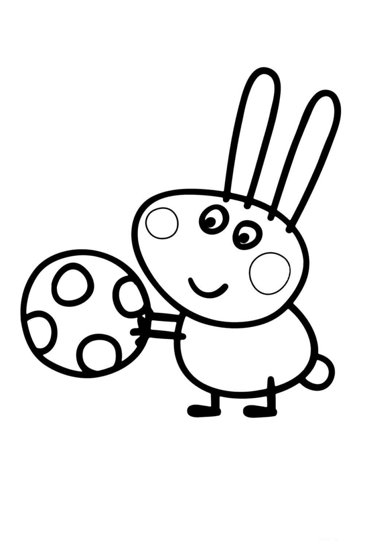 Раскраска Свинка Пеппа Кролик Ричард - распечатать бесплатно
