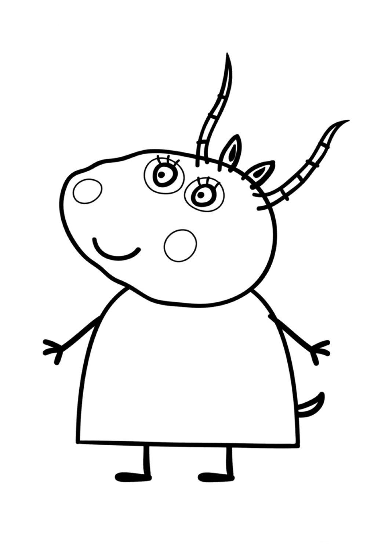 Раскраска Свинка Пеппа Мадам Газель - распечатать бесплатно