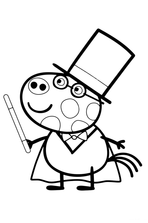 Раскраска Свинка Пеппа Магия Педро - распечатать бесплатно