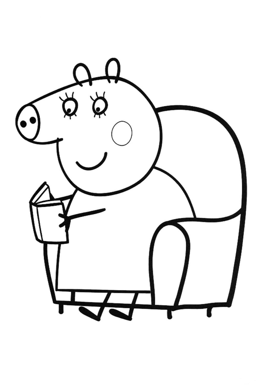 Раскраска Мама Свинка читает книгу - распечатать бесплатно