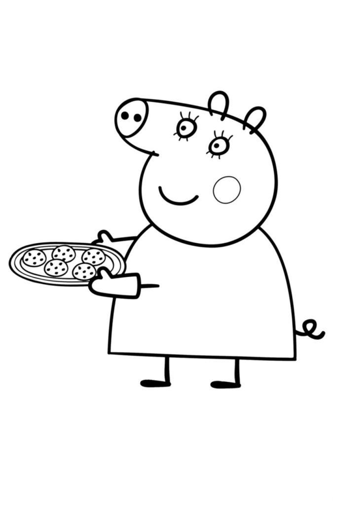Раскраска Мама Свинка испекла печенье