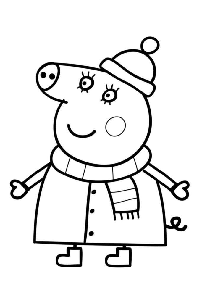 Раскраска Мама Свинка в зимней одежде