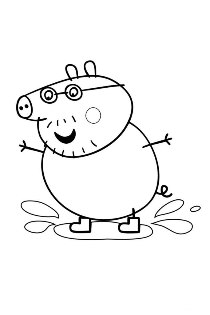 Раскраска Папа Свин прыгает по лужам