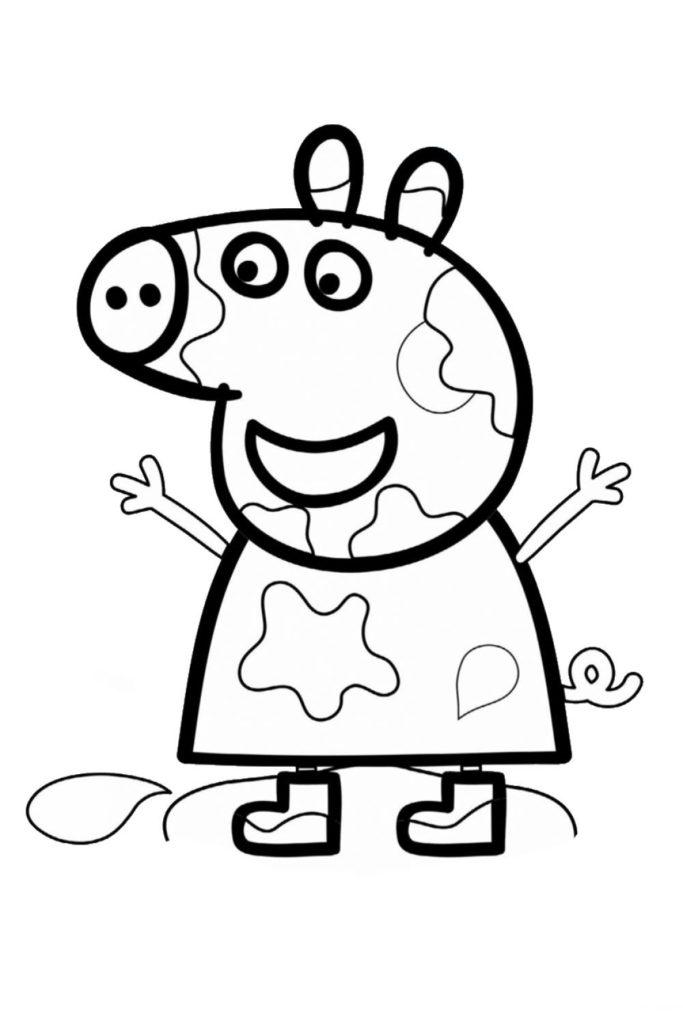 Раскраска Свинка Пеппа грязнуля - распечатать бесплатно