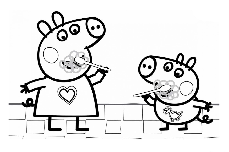 Раскраска Свинка Пеппа и Джордж чистят зубки - распечатать ...
