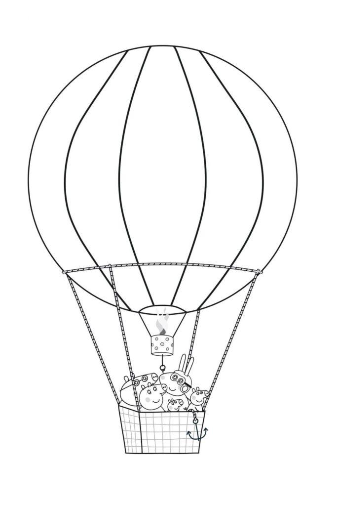 Раскраска Пеппа на воздушном шаре