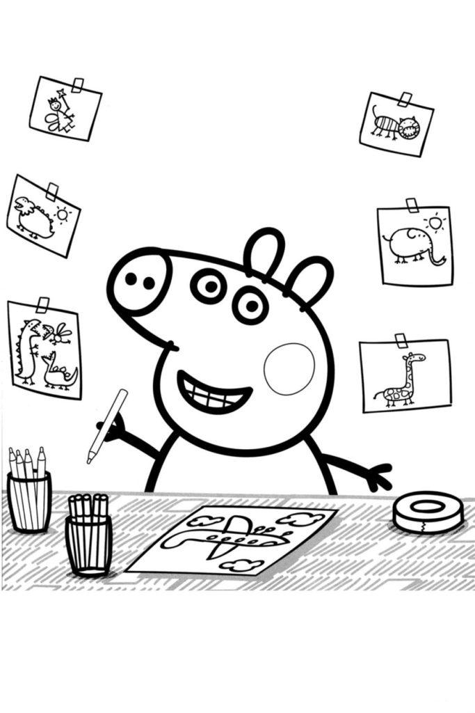 Раскраска Пеппа рисует