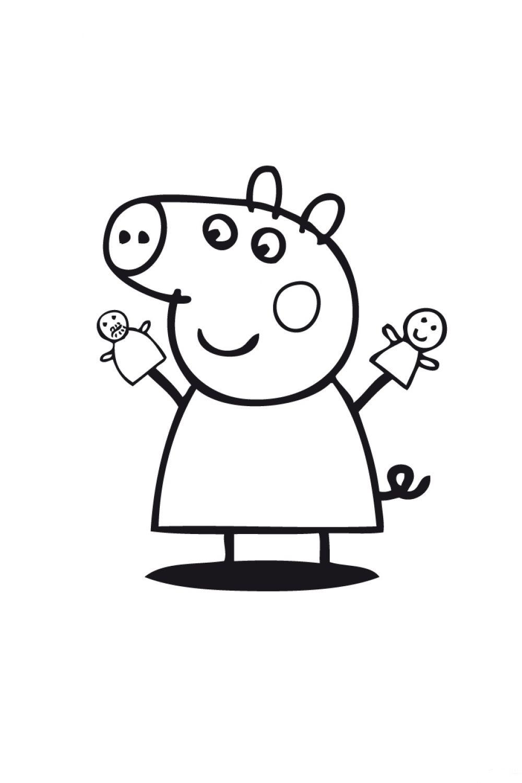 Раскраска Свинка Пеппа с марионетками - распечатать бесплатно