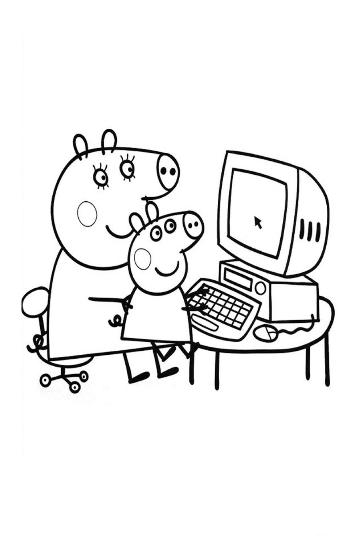Раскраска Свинка Пеппа за компьютером - распечатать бесплатно