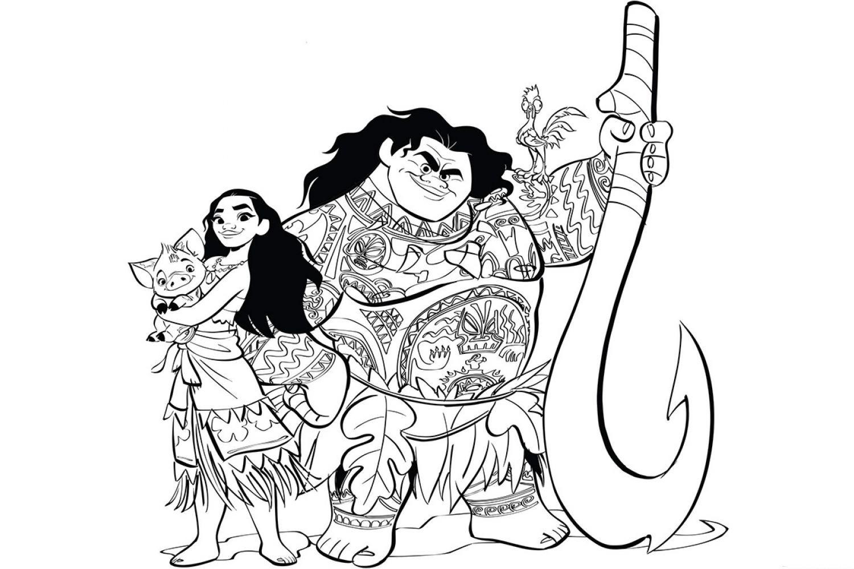 Раскраска Персонажи мультфильма Моана - распечатать бесплатно