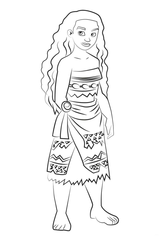 Раскраска Принцесса Моана - распечатать бесплатно