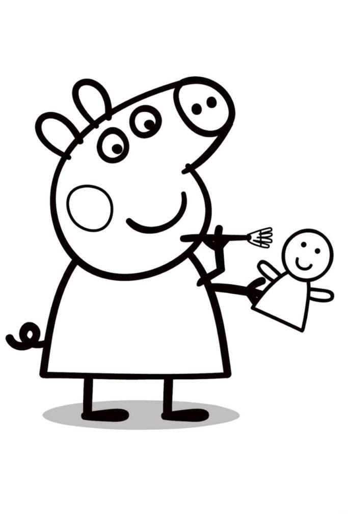Раскраска Свинка Пеппа с куклой