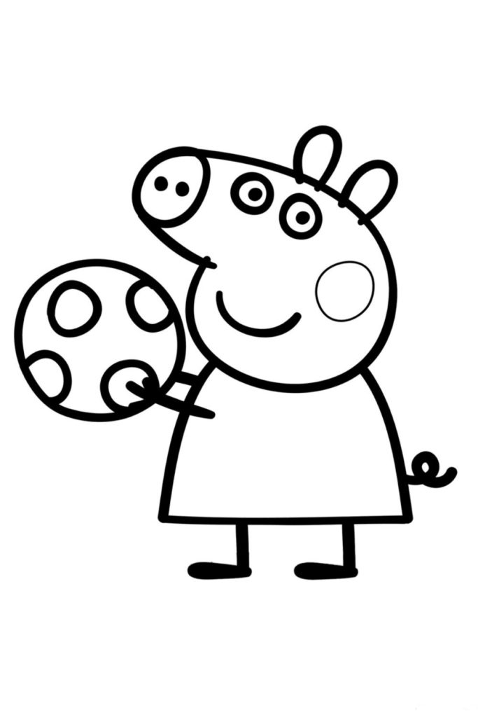 Раскраска Свинка Пеппа с мячом - распечатать бесплатно