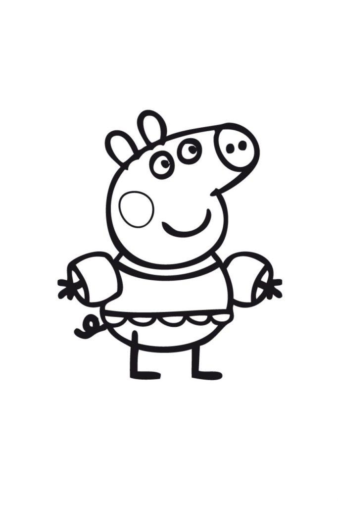 Раскраска Свинка Пеппа с налокотниками - распечатать бесплатно