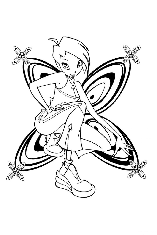 Раскраска Винкс Текна бабочка - распечатать бесплатно