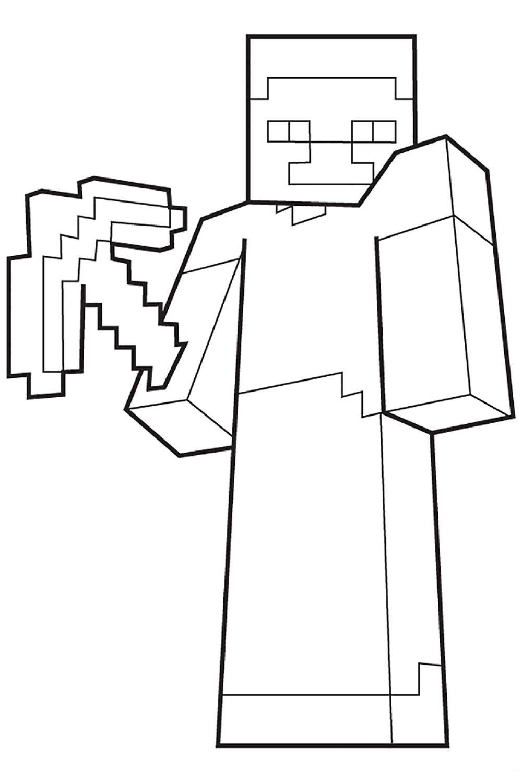 Раскраска Майнкрафт Игрок с киркой - распечатать бесплатно