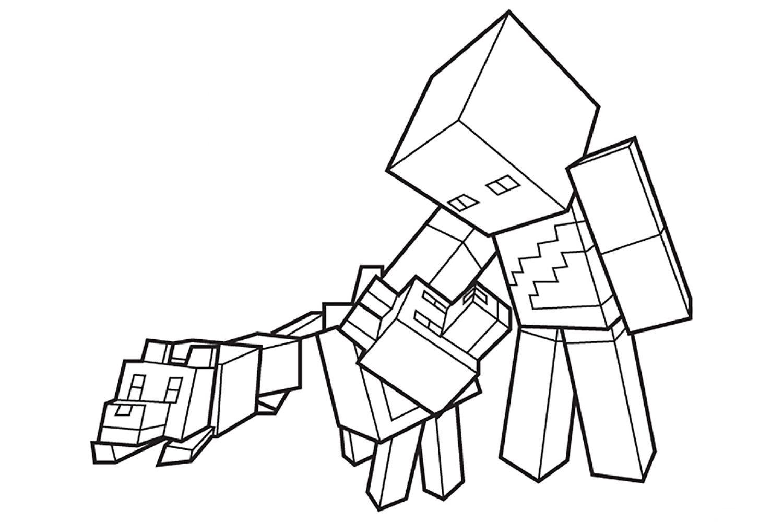 Раскраска Майнкрафт Игрок с волками - распечатать бесплатно