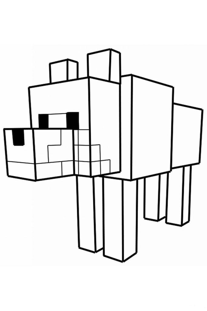 Раскраска Собака из Майнкрафт - распечатать бесплатно