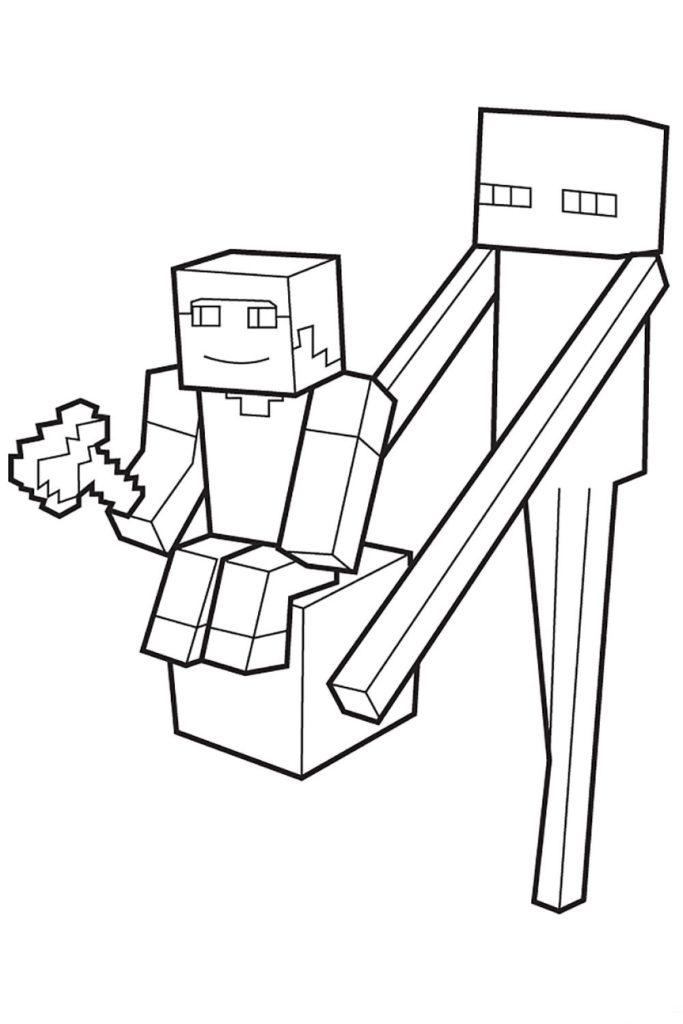 Раскраска Майнкрафт Странник Края со Стивом - распечатать ...